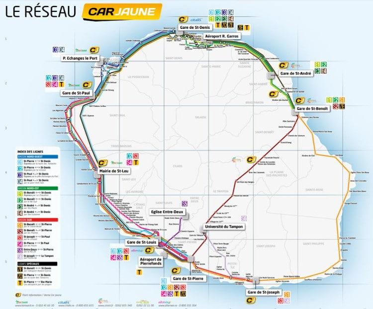 Plan parcours des bus jaunes à la Réunion